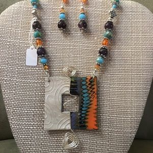 Polymer Clay Necklace and Earring Set.